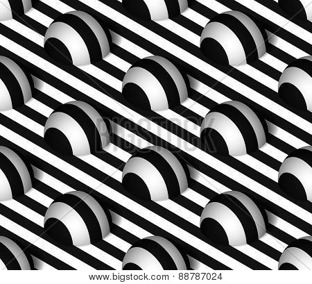 Striped 3D Hemisphere Hills Vector Seamless Pattern