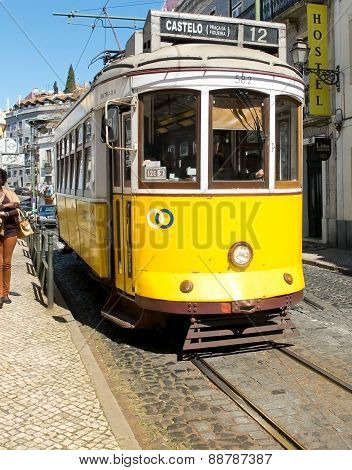 Lisbon Tram In Alfama District, Lisbon.