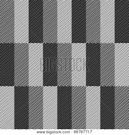 Op Art Design, Zig Zag Checkered Vector Seamless Pattern