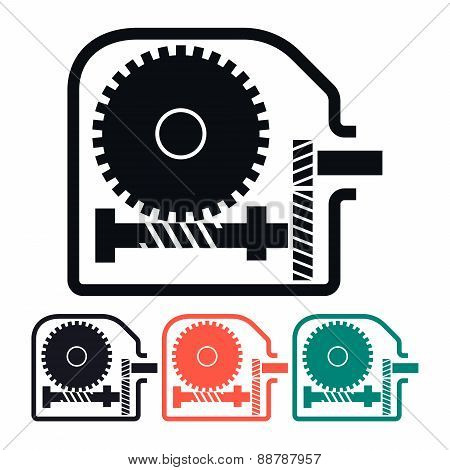 Worm Gear Reducer, Vector Icon Illustration