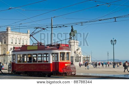 Lisbon Tram In Praca Do Comercio District, Lisbon.
