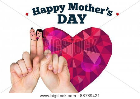 Fingers as a couple against happy mothers day