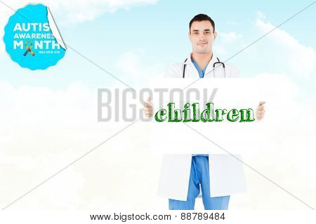 The word children and portrait of a doctor holding a blank panel against blue sky