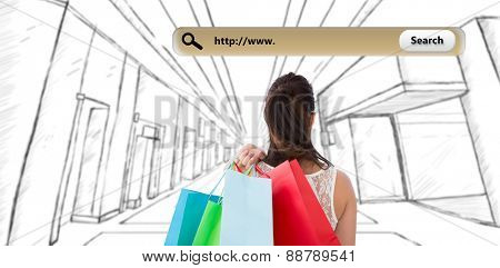 Rear view of brunette holding shopping bags against search engine