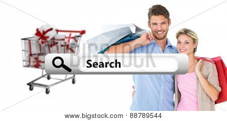 Attractive young couple holding shopping bags against search engine