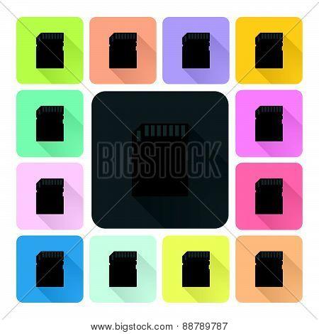 Memory Card Icon Color Set Vector Illustration