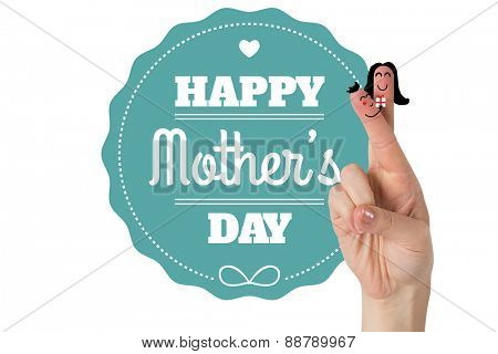 Fingers as a couple against mothers day greeting