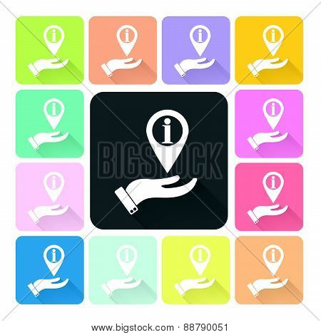 Information Sign With Hand Icon Color Set Vector Illustration