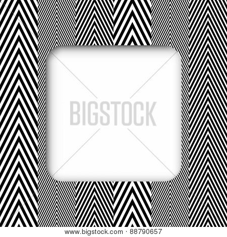 Abstract Black And White Herringbone Fabric Style Vector Frame B