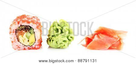 Sushi roll with wasabi and ginger isolated on white