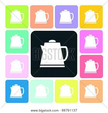Tea Maker Icon Color Set Vector Illustration