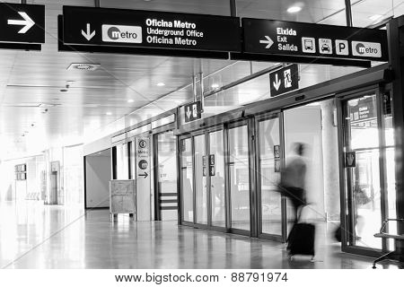 VALENCIA, SPAIN - APRIL 13, 2015: An airline passenger inside the Valencia Airport. About 4.59 million passengers passed through the airport in 2013.