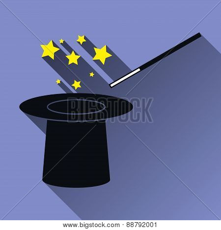 Hat And Magic Wand Icon, Long Shadow, Vector Illustration