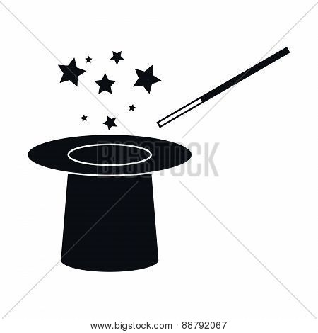 Hat And Magic Wand Icon, Vector Illustration