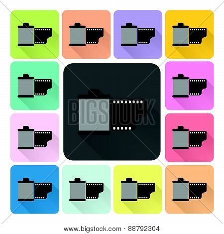 Film Icon Color Set Vector Illustration