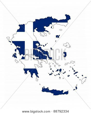Greece Flag Map