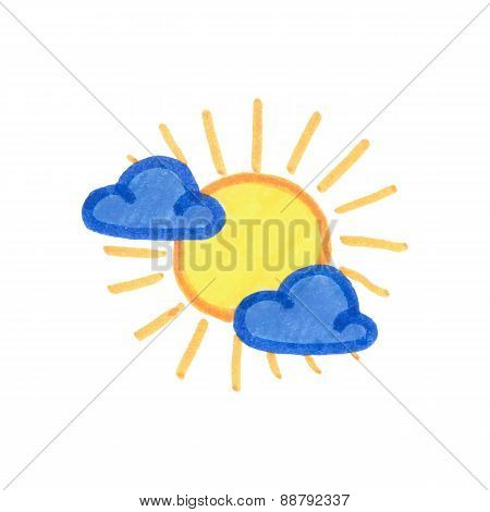 Sun and clouds icon. Weather pictogram on the white background. Vector illustration. Hand-drawn orig