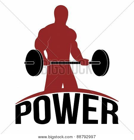 Man Lifting Barbell, Fitness Icon, Vector Illustration