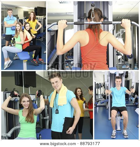 Collage of photos with young people training in gym