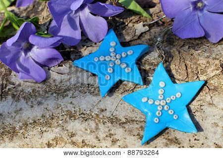 Handmade Blue Clay Earrings On The Nature Background