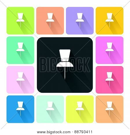 Pushpin Icon Color Set Vector Illustration.