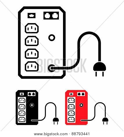 Ups Uninterruptible Power Supply Icon, Vector Illustration