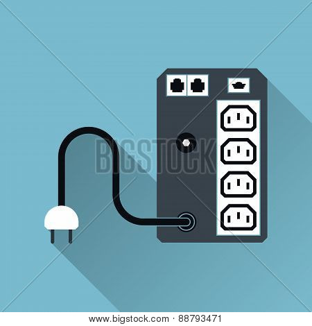 Ups Uninterruptible Power Supply Icon, Long Shadow, Vector Illus