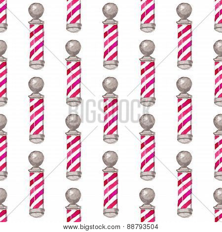 Barber pole.  Seamless watercolor pattern with barber poles on the white background, aquarelle. Vect