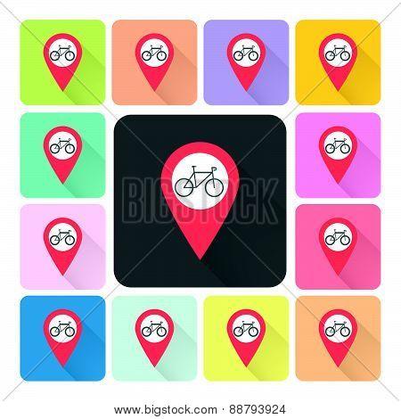 Location Bike Icon Color Set Vector Illustration