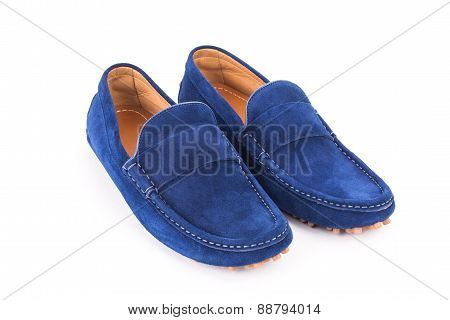 Blue Mens Suede Leather Loafers Pair Isolated On White Background