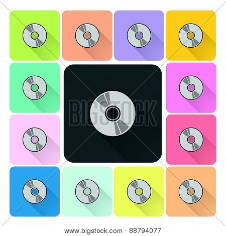 Cd Or Dvd Icon Color Set Vector Illustration