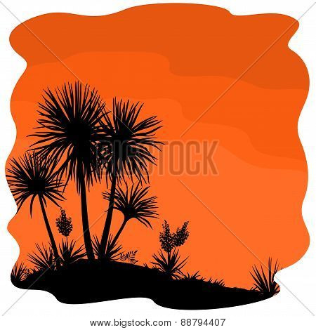 Palm Tree and Plants Yucca Silhouettes