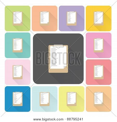 Paper Board Icon Color Set Vector Illustration