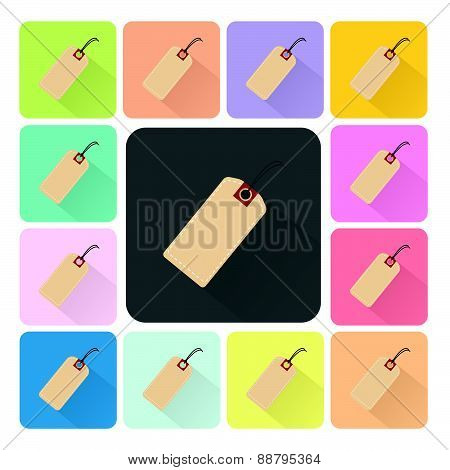Tag Icon Color Set Vector Illustration