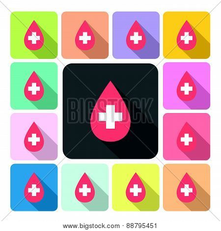 Blood Icon Color Set Vector Illustration