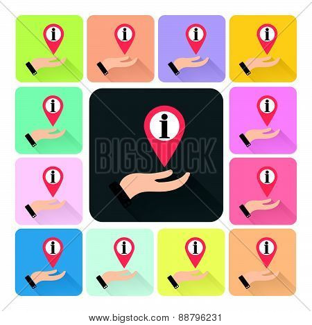 Hand Cover Information Icon Color Set Vector Illustration
