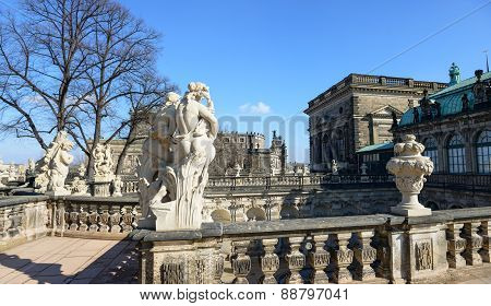 Balustrade With Sculptures On Terrace Of Zwinger, Dresden, Saxony, Germany.