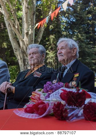 Makeevka, Ukraine - May, 7, 2014: Veterans Of World War Ii During The Celebration Of The Anniversary