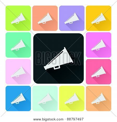 Megaphone Icon Color Set Vector Illustration.