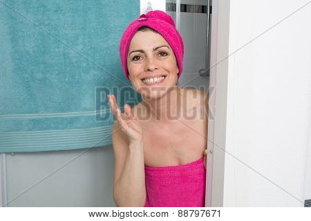 Woman Covering Her Body With Towel