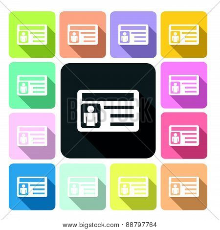 Business Card Icon Color Set Vector Illustration.