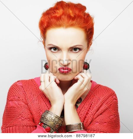 beautiful angry woman, studio shot