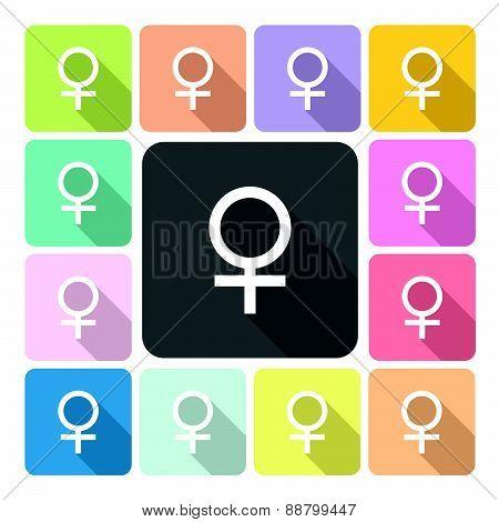 Female Icon Color Set Vector Illustration