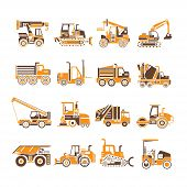 foto of heavy equipment operator  - set of 16 construction equipment icons - JPG