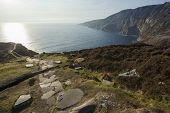stock photo of stepping stones  - Landscape photo of the stepping stone path at Slieve League cliffs in Co - JPG
