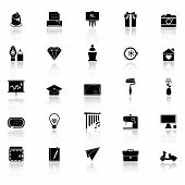 pic of fibonacci  - Art and creation icons with reflect on white background stock vector - JPG