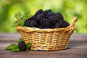 image of wooden basket  - Blackberries in the basket on the wooden table - JPG