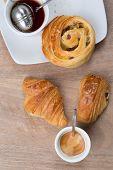 pic of croissant  - Breakfast including coffee tea bread croissant danish pastry chocolatine - JPG