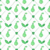 pic of household farm  - Seamless watercolor pattern with pears on the white background - JPG