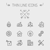 picture of tree leaves  - Ecology thin line icon set for web and mobile - JPG